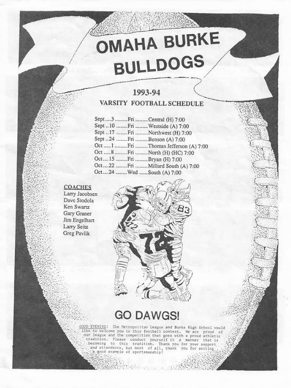 1993-94 Varsity Football Program