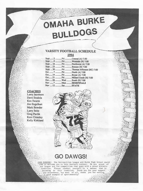 1994-95 Varsity Football Program